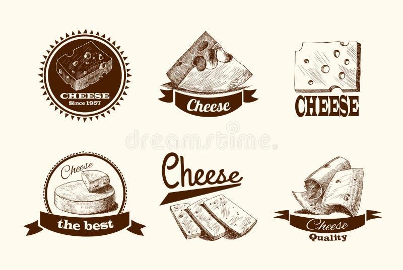 Download Ярлыки эскиза сыра иллюстрация вектора. иллюстрации насчитывающей нарисовано - 40586095