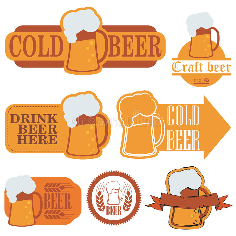 Ярлыки grunge холодного пива иллюстрация вектора