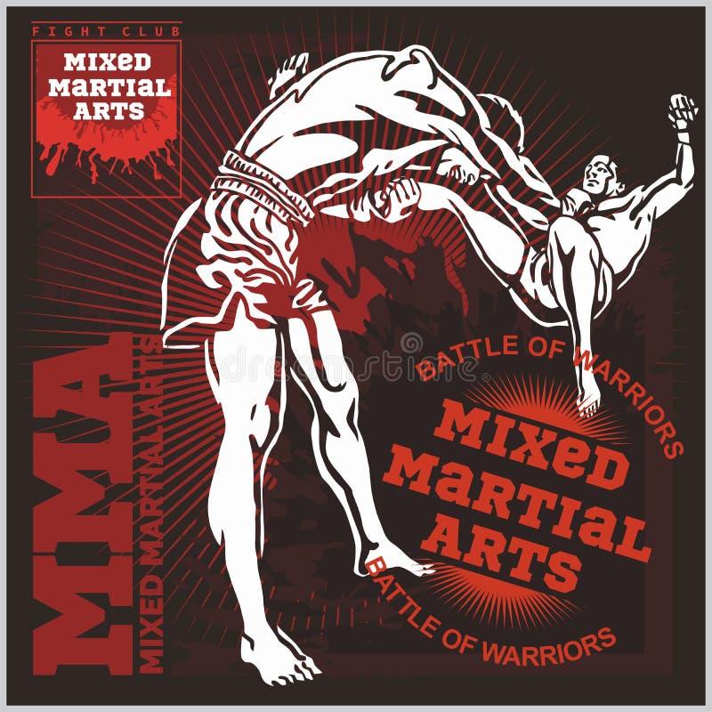 Ярлыки Muttahida Majlis-E-Amal - вектор смешанный дизайн боевых искусств иллюстрация штока