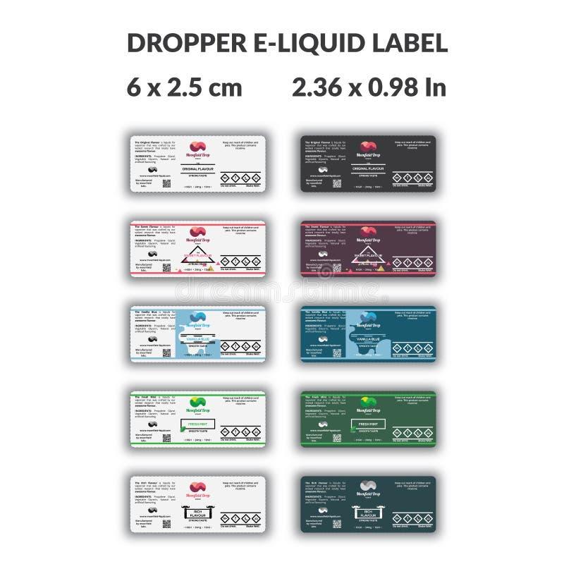 Ярлык бутылки E-жидкости капельницы с много вариант проекта и вкус стоковые изображения rf