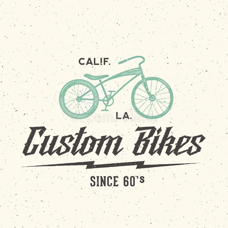 Ярлык вектора изготовленного на заказ велосипеда ретро или шаблон логотипа бесплатная иллюстрация