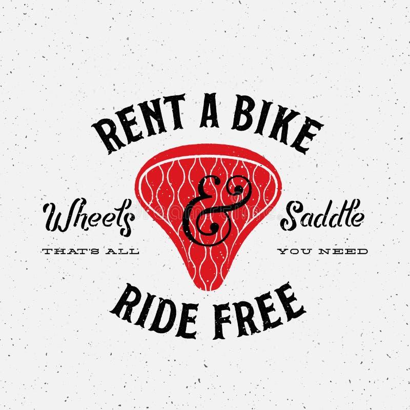 Ярлык вектора проката велосипедов ретро или шаблон логотипа бесплатная иллюстрация