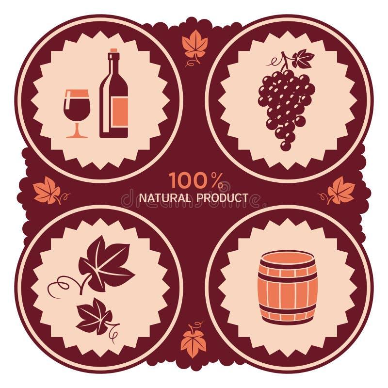 Ярлык вина с значками виноградины и бочонка иллюстрация вектора