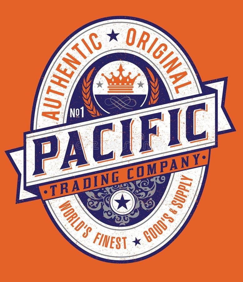 Ярлык винтажного Американа стиля Тихий океан иллюстрация вектора
