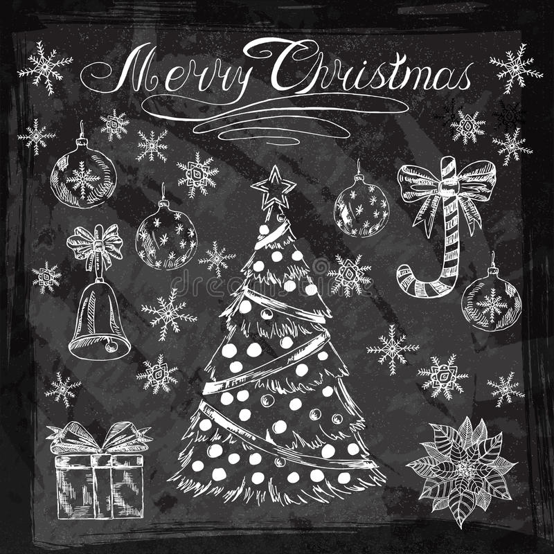 Ярлык винтажного мела 2015 Новых Годов установленный на классн классном иллюстрация штока