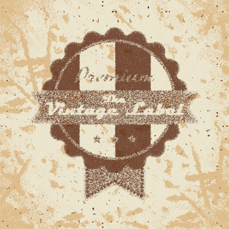 Ярлык винтажных покупок heraldic на увяданной бумаге иллюстрация вектора