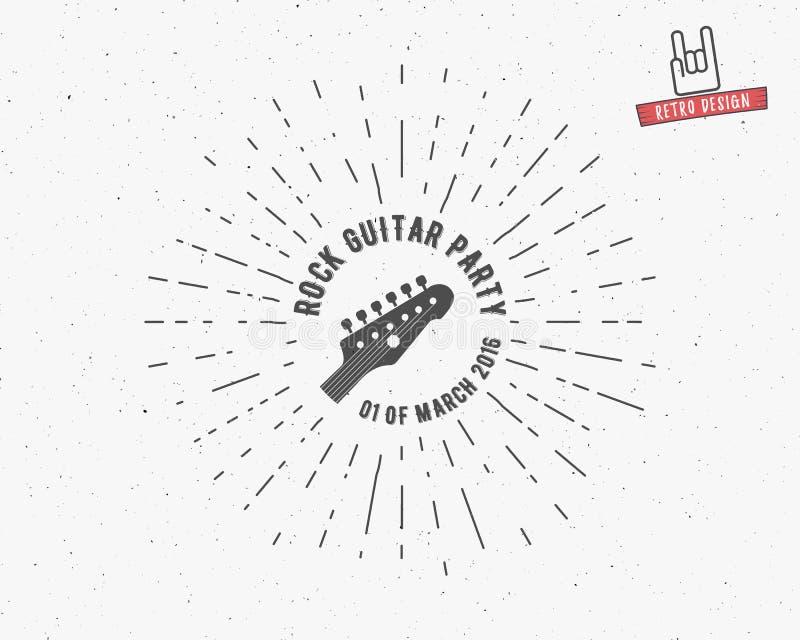 Ярлык гитары вектора винтажный с sunburst, элементами оформления, текстом Стиль рок-н-ролл Grunge Символ гитары, ретро иллюстрация вектора