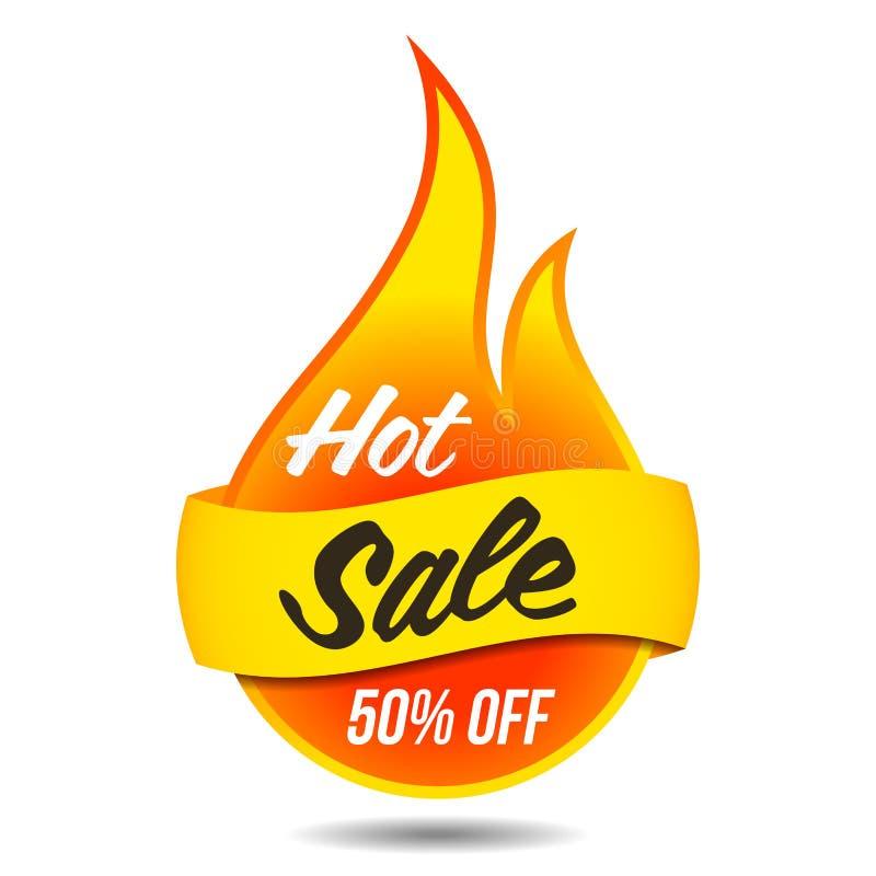 Ярлык горячего вектора продажи пламенеющий иллюстрация штока