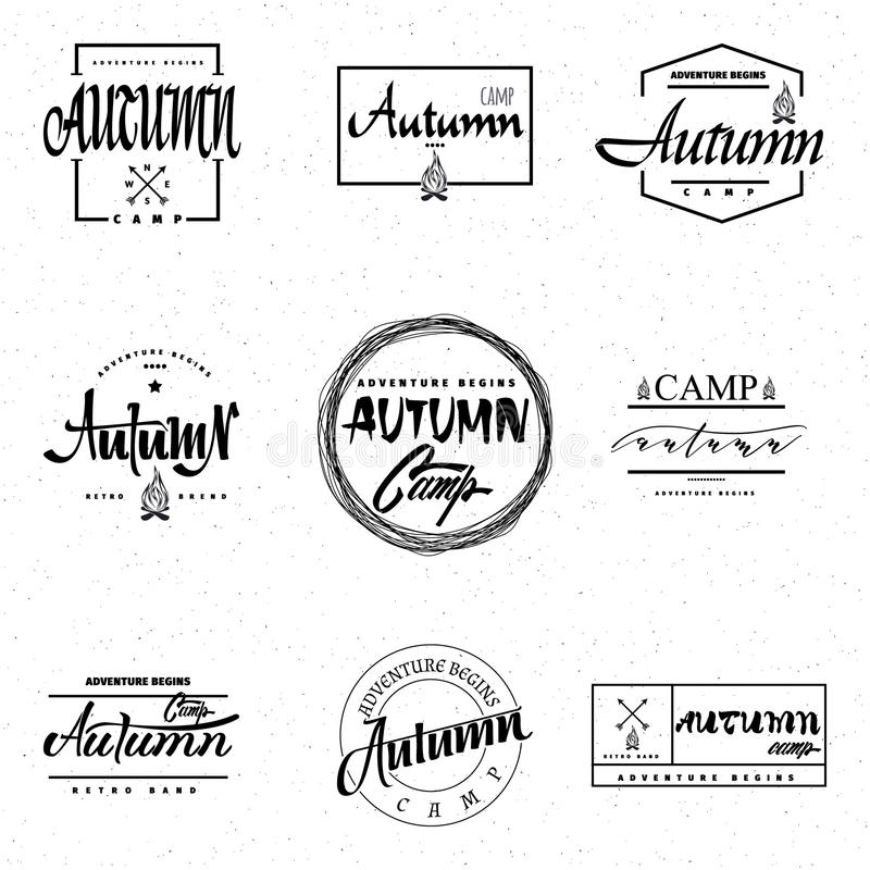 Ярлык значка литерности лагеря осени каллиграфический для дизайна иллюстрация штока