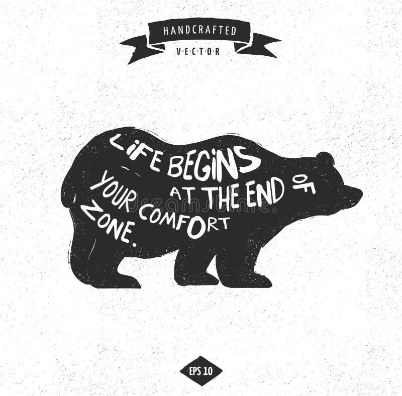 Ярлык дизайна битника цитаты воодушевленности - медведь иллюстрация штока