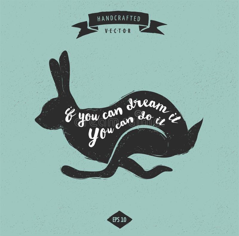 Ярлык дизайна цитаты воодушевленности винтажный - кролик бесплатная иллюстрация