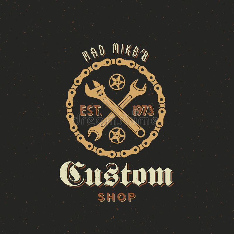 Ярлык или логотип магазина ретро велосипеда вектора изготовленные на заказ иллюстрация штока