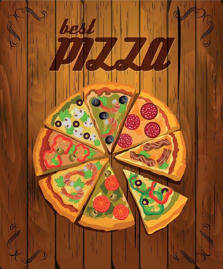 Ярлык или плакат пиццы вектора иллюстрация штока