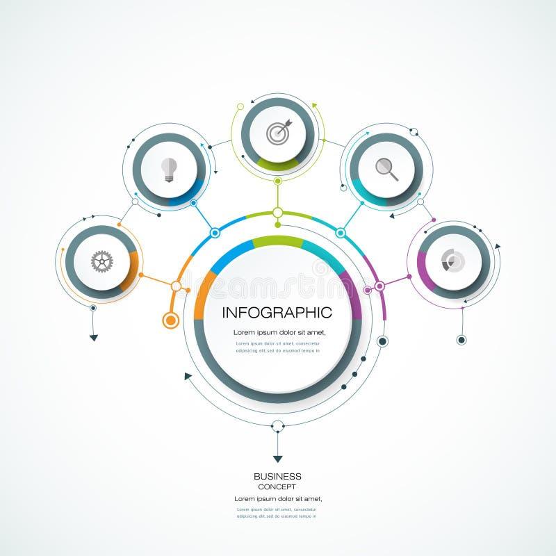 Ярлык круга infographics 3D вектора с стрелками подписывает и 5 вариантов иллюстрация вектора