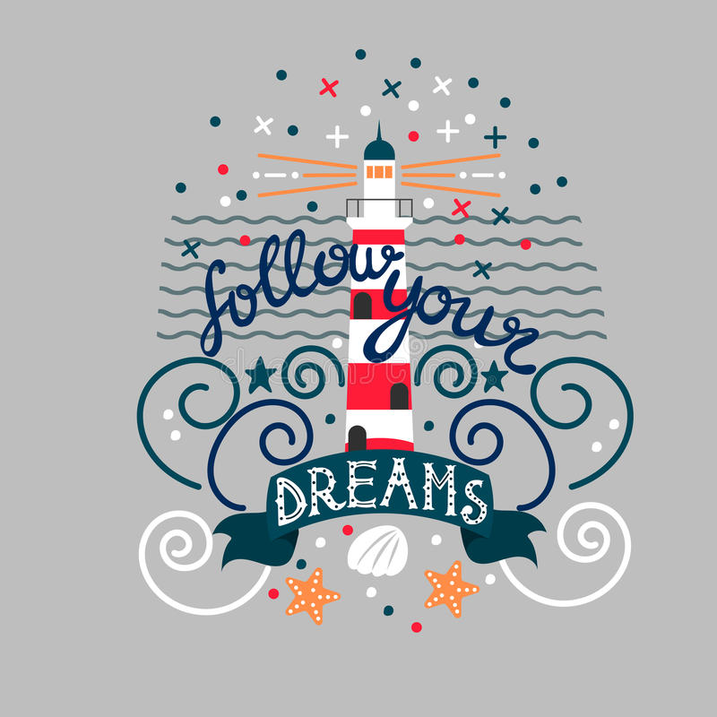 Ярлык нарисованный рукой винтажный с маяком и литерностью Эту иллюстрацию можно использовать как печать на футболках и сумках иллюстрация вектора