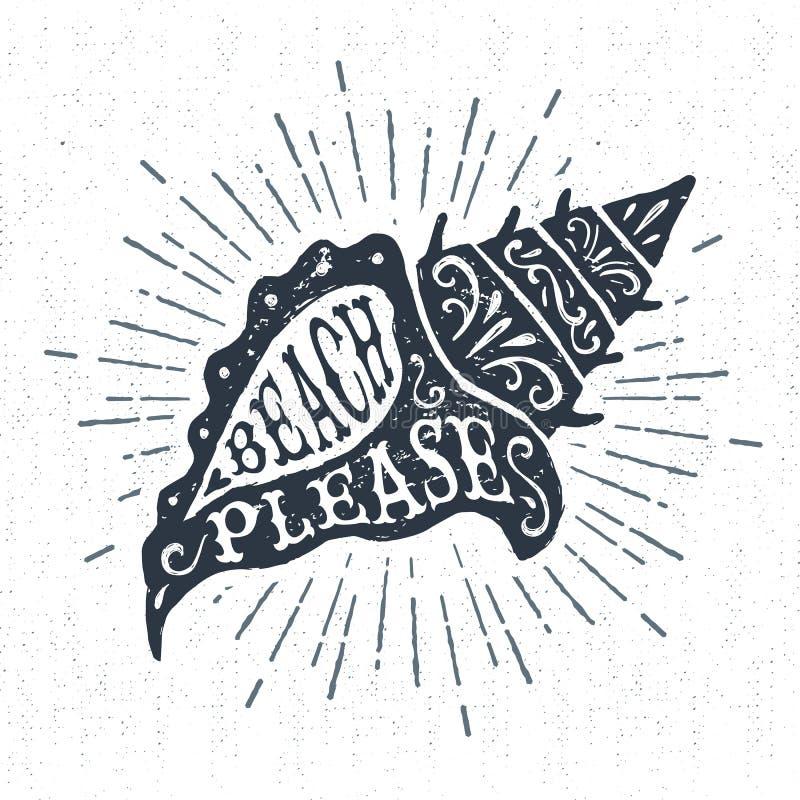 Ярлык нарисованный рукой винтажный с текстурированной иллюстрацией вектора seashell раковины иллюстрация вектора