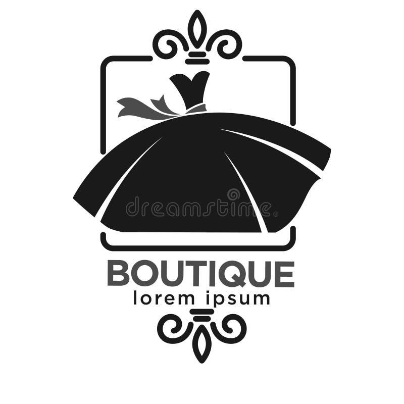 Ярлык логотипа бутика черный с платьем на белизне бесплатная иллюстрация