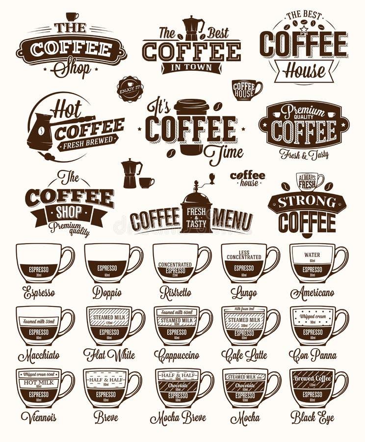 Ярлык, логотип и меню кофе бесплатная иллюстрация
