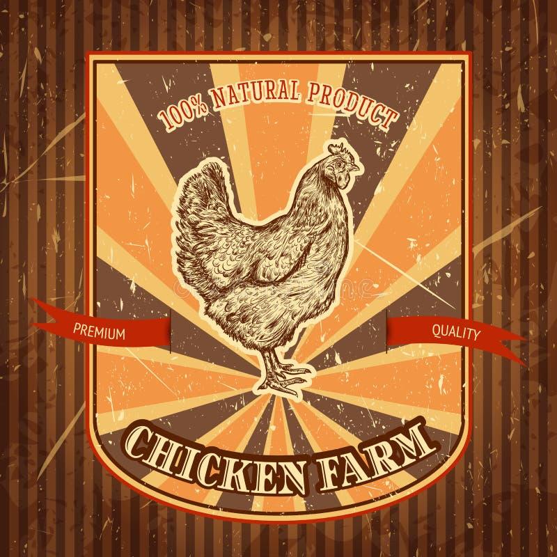 Ярлык органической птицефермы винтажный с цыпленком на предпосылке grunge иллюстрация вектора