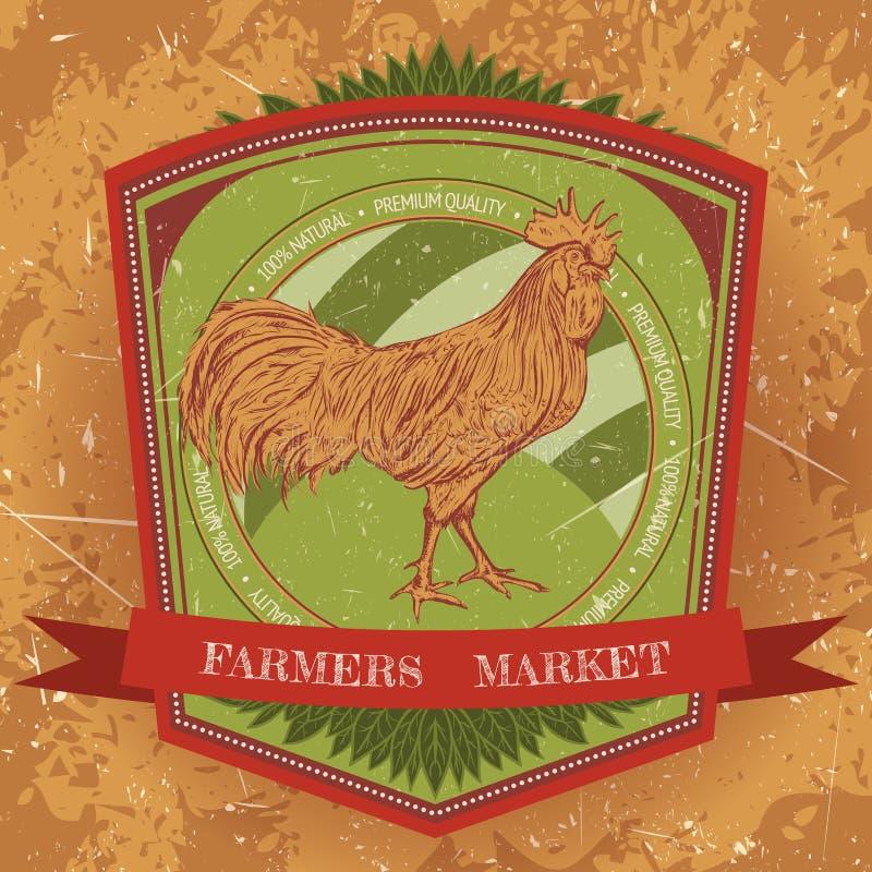 Ярлык органической фермы винтажный с краном цыпленка иллюстрация вектора