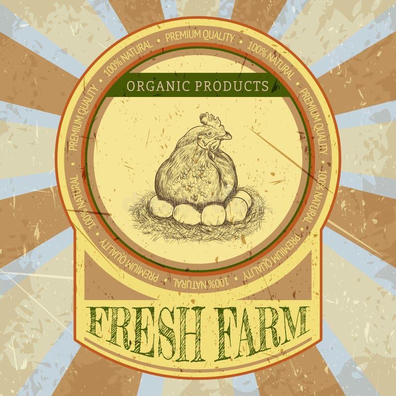 Ярлык органической фермы винтажный с цыпленком и яичками иллюстрация вектора