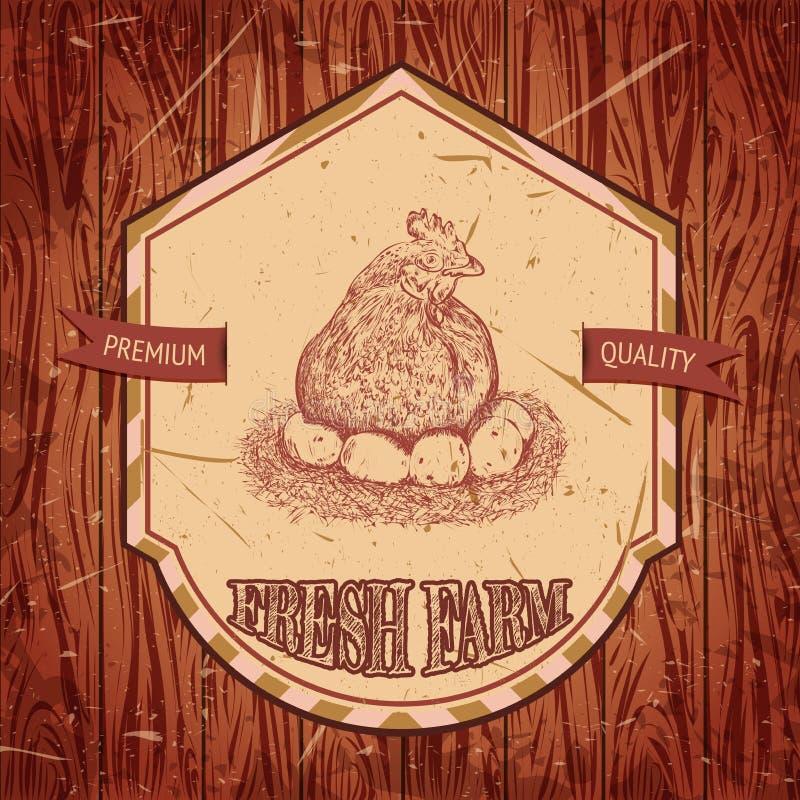 Ярлык органической фермы винтажный с цыпленком и яичками бесплатная иллюстрация