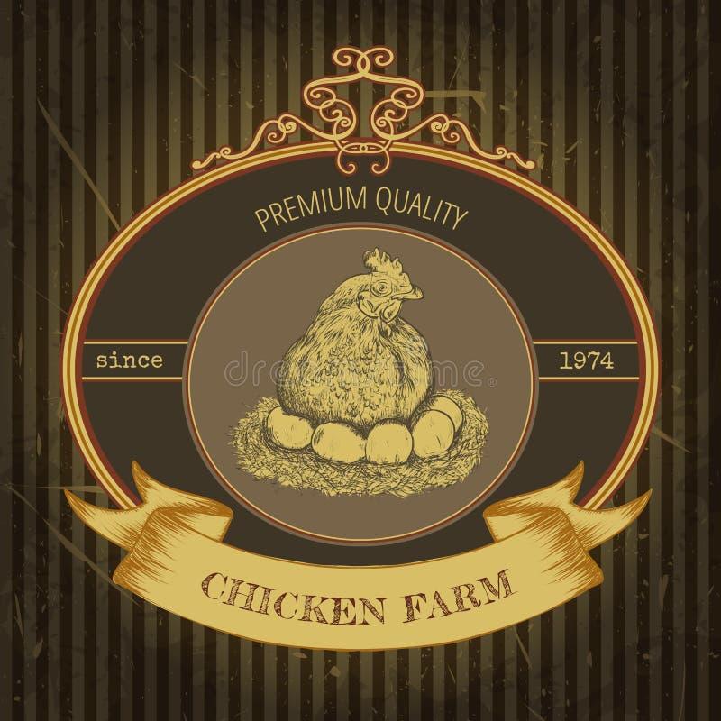 Ярлык органической фермы винтажный с цыпленком и яичками иллюстрация штока