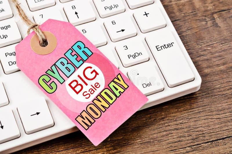 Ярлык понедельника продажи кибер большой стоковая фотография rf