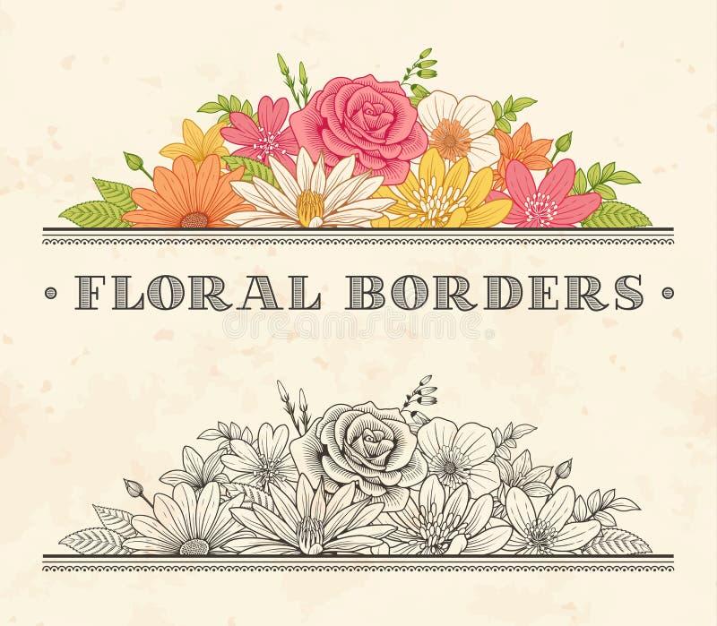 Ярлык рамки цветка вектора иллюстрация штока