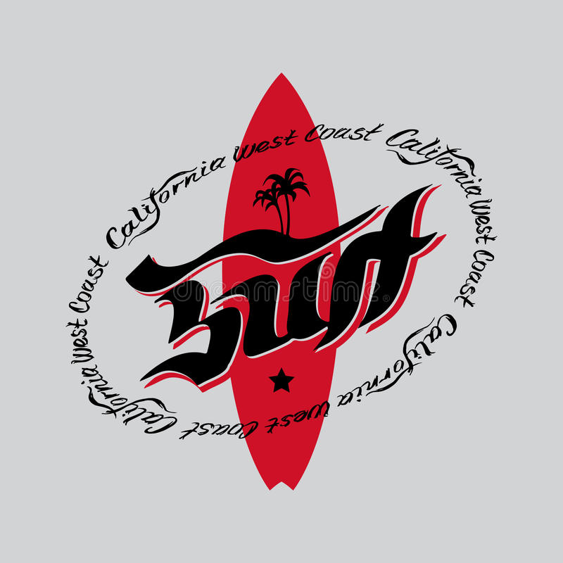 Ярлык ретро стиля вектора занимаясь серфингом, логотип или графический дизайн футболки иллюстрация штока