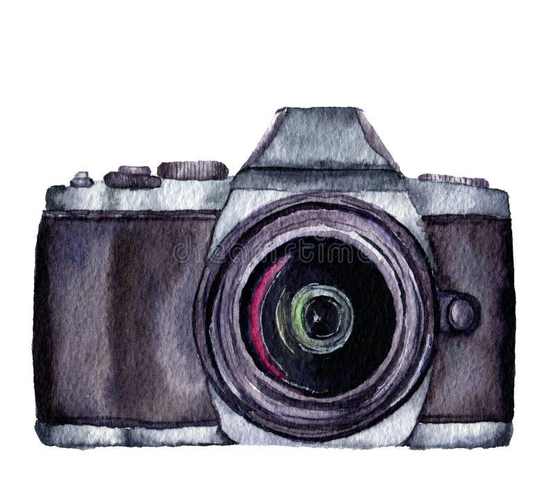 Ярлык фото акварели Вручите вычерченную камеру фото изолированную на белой предпосылке Для дизайна, логотипа, печатей или предпос иллюстрация штока