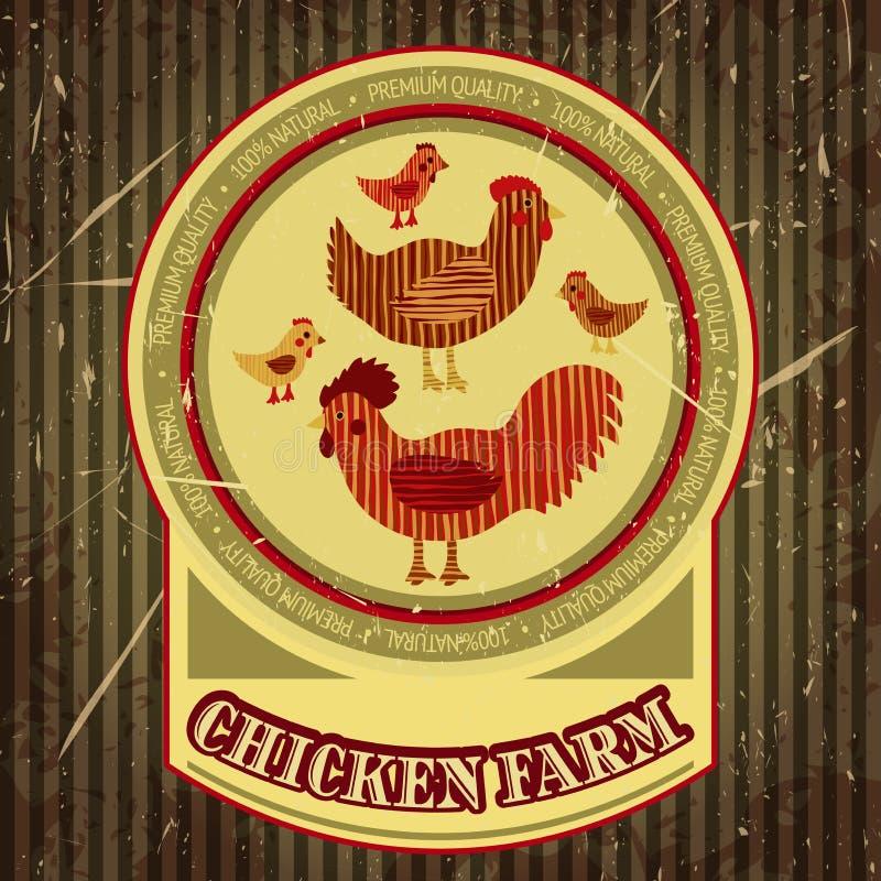 Ярлык шаржа органической фермы смешной с цыпленком семьи: взведите курок, курица с цыплятами, дом курицы иллюстрация штока