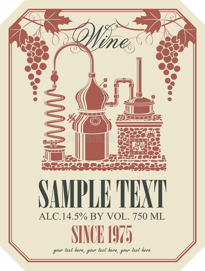 Ярлык для вина с винными изделиями бесплатная иллюстрация
