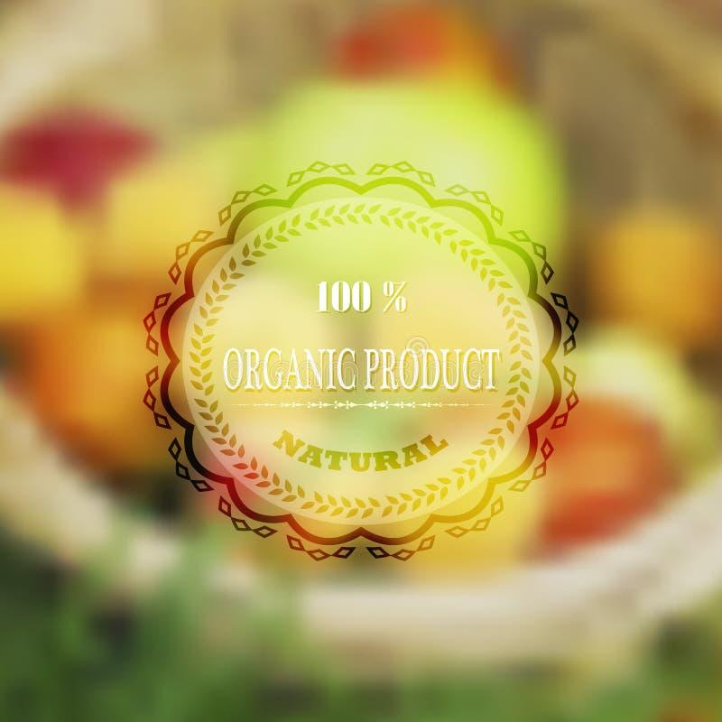 Ярлык для органической здоровой еды с запачканным backgro вектора влияния бесплатная иллюстрация