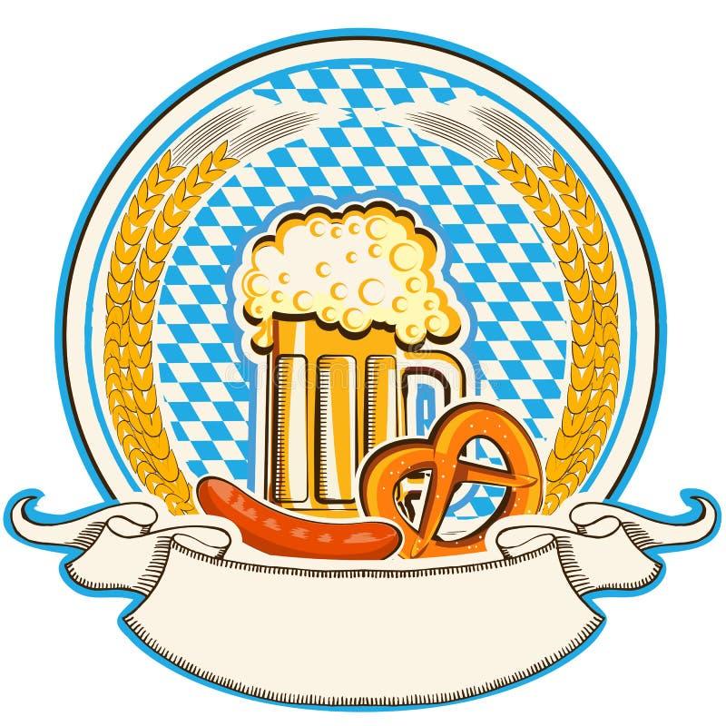 Ярлык Oktoberfest с пивом и едой. Флаг Баварии иллюстрация вектора