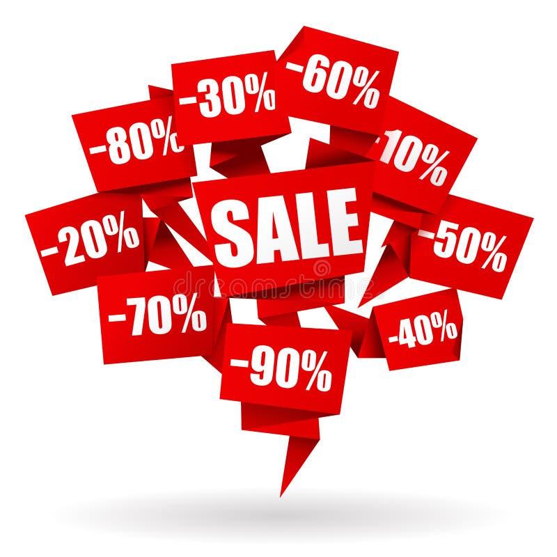 Ярлык Origami продаж иллюстрация вектора