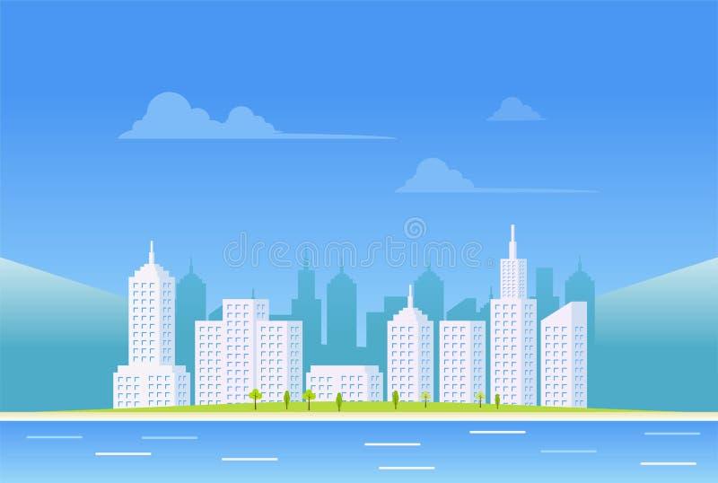 Ясная предпосылка ландшафта города Предпосылка scape города дня иллюстрация штока