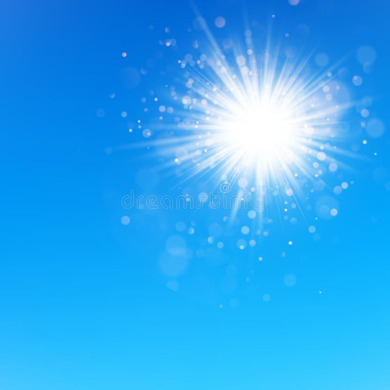 Ясное голубое небо с блеском солнца 10 eps иллюстрация штока