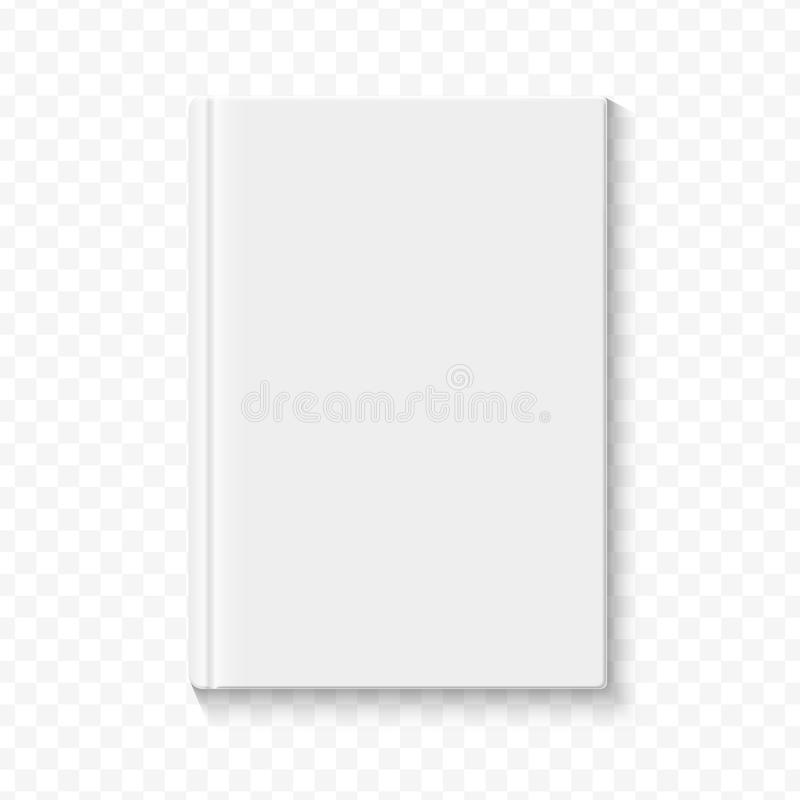 Ясный белый пустой шаблон обложки книги на предпосылке альфы transperant с ровными мягкими тенями также вектор иллюстрации притяж иллюстрация вектора