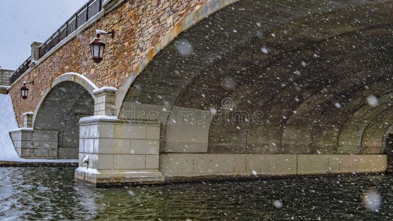 Ясный взгляд Snowy панорамы под сдобренным мостом озера Oquirrh стоковые изображения rf