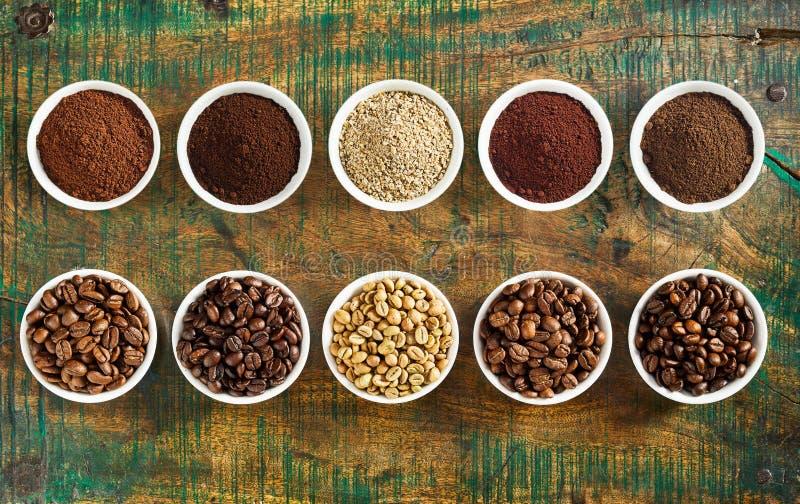 Ясный натюрморт сортированных кофе и фасолей стоковая фотография