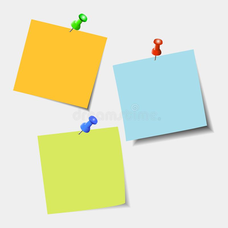 Ясный список бумаги цвета с штырем на серой предпосылке бесплатная иллюстрация
