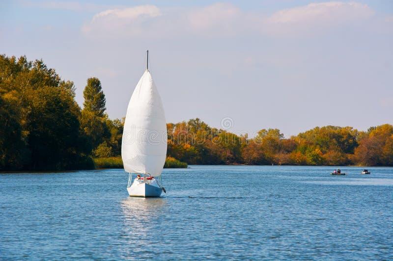 Яхта под белым ветрилом стоковые изображения