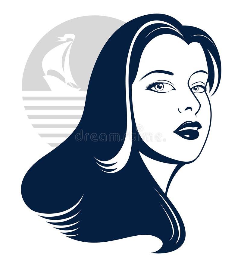 яхта силуэта моря девушки иллюстрация вектора