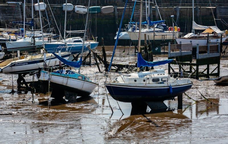 Яхты, который сели на мель на полной воде стоковое фото rf