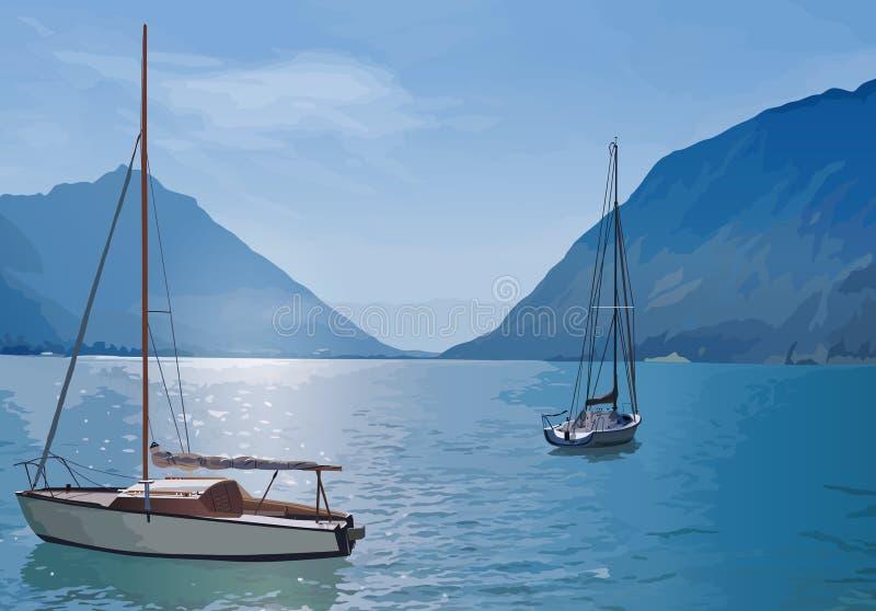 Яхты на озере иллюстрация вектора