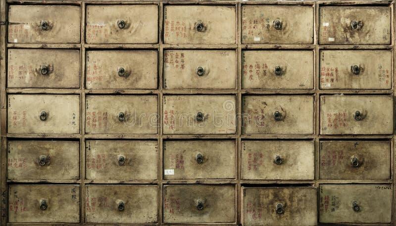 Ящики Apothecary азиатские - ретро мебель стоковое фото
