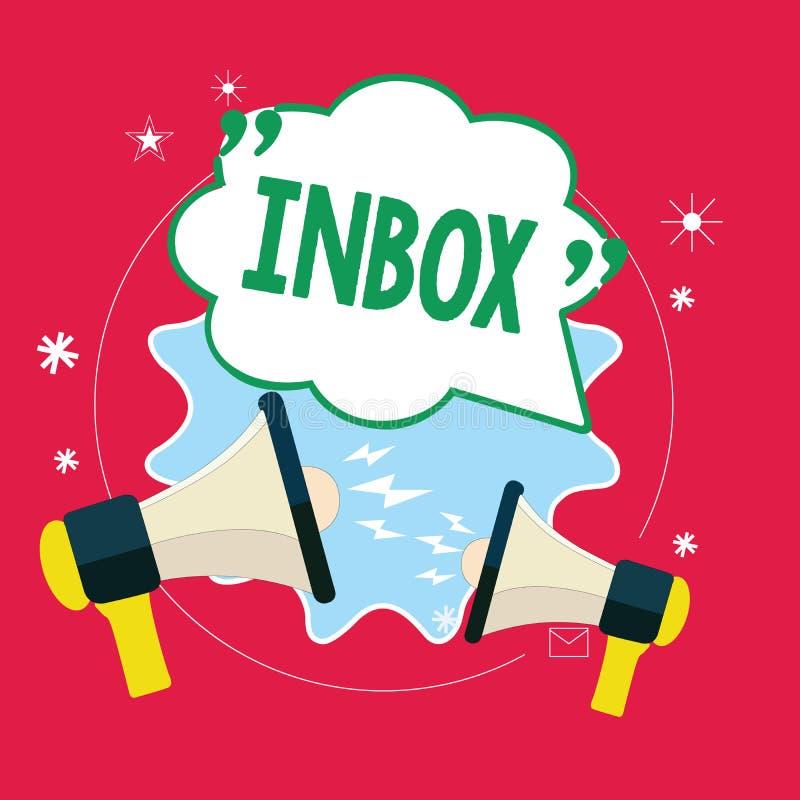 Ящик входящей почты текста почерка Концепция знача электронную папку в которой держатся электронные почты полученные индивидуалом иллюстрация вектора