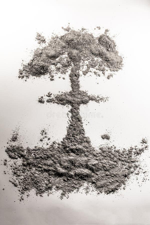 Ядерная иллюстрация ядерного гриба атомной бомбы сделанная из золы, пыли иллюстрация штока