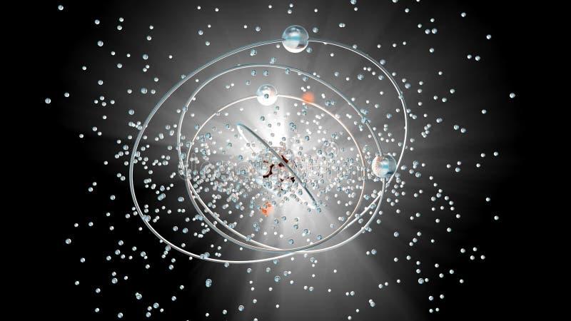Ядерная радиация испуская от атома бесплатная иллюстрация